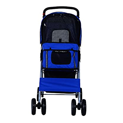 PawHut Pet 4 Wheels Travel Stroller Dog Cat Pushchair Trolley Puppy Jogger Folding Carrier (Blue) 4