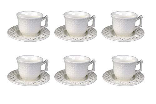 Edle Teeservise Kaffeeservise Porzellan Weiß Gold 12 Teile Kaffeetasse (Design 3 Weiß, Mokkaservise)