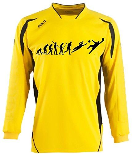 Coole-Fun-T-Shirts Torwart Evolution Kinder Torwarttrikot gelb, Kids 10-12 Jahre