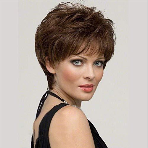 Européens et américains Perruques Set Femmes Mode Perruques courtes de fibres chimiques Cheveux Femme Cheveux courts (Color : Light Brown)