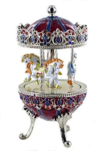 Boîte à musique en forme d'oeuf musical de style Fabergé en métal avec chevaux de carrousel (Réf: 15031) - Le beau Danube bleu (J. Strauss)