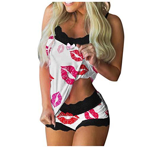 Umstandspyjama Erotische Nachtwäsche Schlafanzug Sexy Nachtkleid Satin Schlafanzug Kleid Unterwäsche Damen Sexy Dessous (D1- Rosa,L)