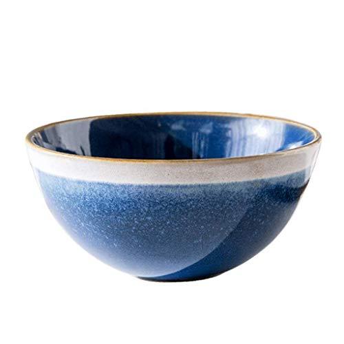 HUAHUA Bowls Cuenco de cerámica tazón Bowl, Nordic Estilo La creatividad de la vendimia de cerámica de la personalidad del cuenco de arroz azul fresca pequeña del hogar 13 * 6 * 5cm