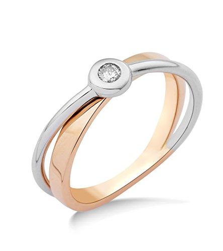 Miore Damen-Ring 14 Karat (585) Bicolor rhodiniert Diamant weiß Gr.52 (16.6) MRM403R2