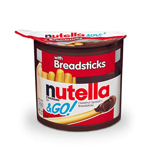 Nutella and Go Snack Packs, Chocolate Hazelnut Spread with Breadsticks, Perfect Bulk Snacks for Kids' Lunch Boxes, 1.8 oz, Pack of 12