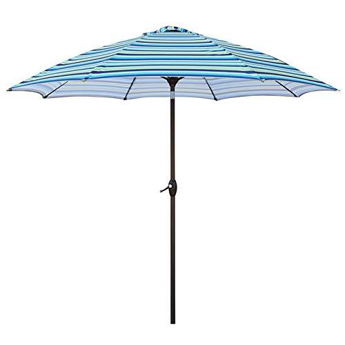 HWF Sombrilla Sombrillas para Patio Rayas Azules, 9 pies Sombrilla de jardín Sombrilla con manivela e inclinación, Paraguas de Mesa de Mercado al Aire Libre Protección UV 50+