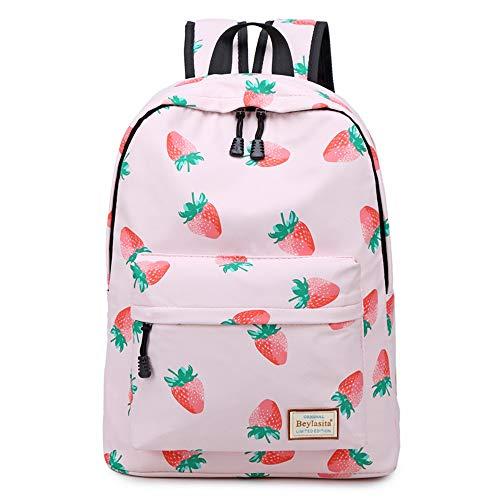 Beylasita borsa da scuola per donna stampa di moda zaino per ragazze borsa Oxford impermeabile borsa per laptop da 15,6 pollici borsa da viaggio lavoro università zaino (Fragola)