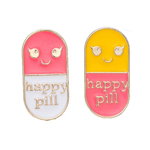 hanreshe Happy Pill Pin Medical Jewelry Drop Oil Enamel Pin Brooch Cool Pill Lapel Pin Cute Little Ornament Pink Yellow Smiley Face Brooch for The Gift of The Doctor and Nurse