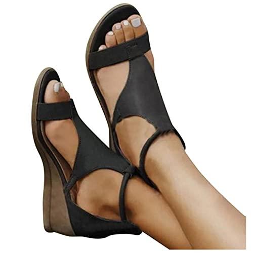 TER Sandali Donna 2021 Sandali con Plateau Donna Platform Mate Scarpe estive Pantofole Casual con Cerniera per Donna