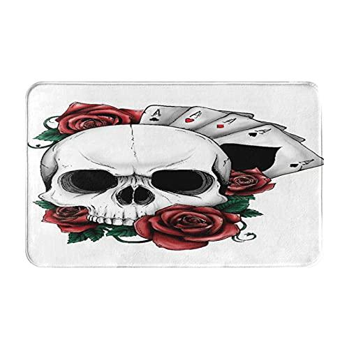 Dachangtui Alfombras de baño Decoración de la habitación, Cráneo Casino Flor Rosa roja Hojas Cartas de póquer Ace, Alfombrillas duraderas y Suaves con Antideslizante