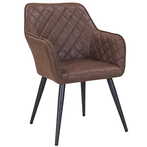 Duhome Esszimmerstuhl aus Stoff (Samt) Farbauswahl Retro Design Armlehnstuhl Stuhl mit Rückenlehne Sessel Metallbeine 8058, Farbe:Braun, Material:Lederoptik