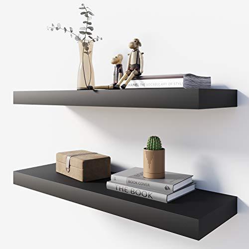 BAMEOS Floating Shelf ,Wall Shelf,Decor Wall Mounted Shelves ,Hanging Shelf Set L24xW6 for Bathroom Kitchen Living ,Kitchen,Room Bedroom Storage,Black