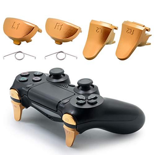 TOMSIN Metallauslöser für PS4 Slim / PS4 Pro Controller, Aluminium Metall L1 R1 L2 R2 Trigger Buttons für PS4 Controller Gen 2 (Gold)