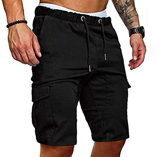 Cindeyar Herren Shorts Sommer Chino Jeans Kurze Hosen Stretch Jogger Cargo Shorts Slim-Fit (M, 175Schwarz)