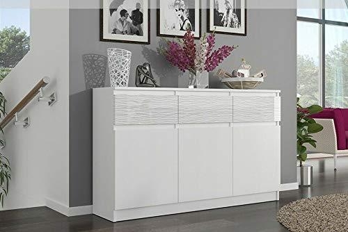 Megaastore - Cómoda (3 cajones, 3 armarios, 120 cm, efecto brillante, 98 x 120 x 40 cm), color blanco