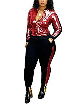 Women s Sexy Sequin Two Piece Outfits Pockets Glitter Metallic Jacket and Pant Bodycon Jogger Tracksuit Clubwear Red 3X