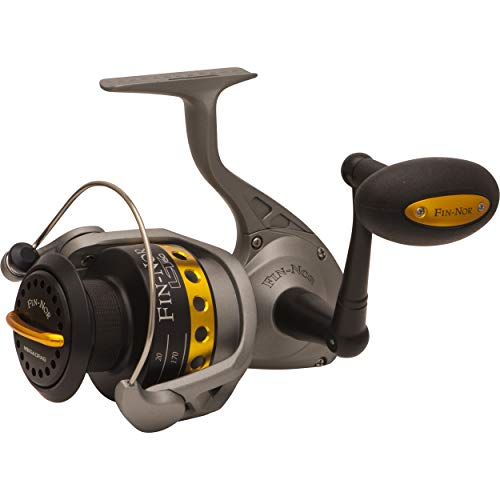 Lethal Spinning Reel, 240-Yards, 14-Pound Mono Line Capacity, 30-Pound Maximum Drag, Gray and Black Finish - Fin-Nor LT60