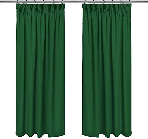 Rollmayer Vorhänge mit Bleistift Kollektion Vivid (Smaragdgrün 46, 135x215 cm - BxH) Blickdicht Uni einfarbig Gardinen Schal für Schlafzimmer Kinderzimmer Wohnzimmer