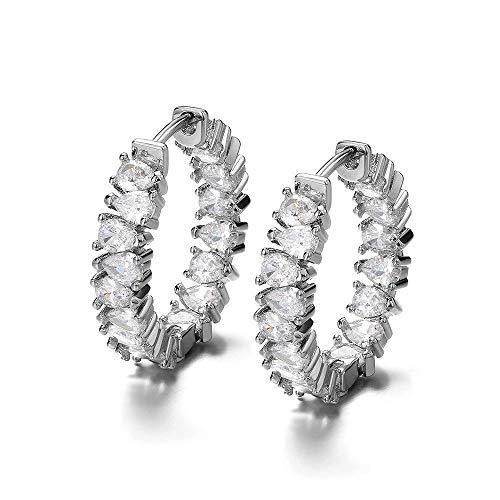 Pendientes de plata con Swarovski, 22 mm, pendientes de aro para mujer, oro de 18 quilates, pendientes de plata, pequeños pendientes de circonita Swarovski, 22 mm