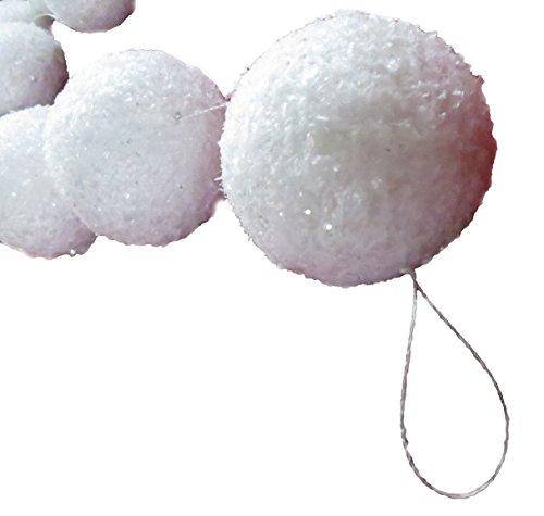 Schneeballgirlande mit Schneeflockenoptik, 180cm lang (4,39€/m), bestehend aus 22 Bällen zu je 5 cm Durchmesser, Winterdekoration, Schneeimitat, Schneebälle
