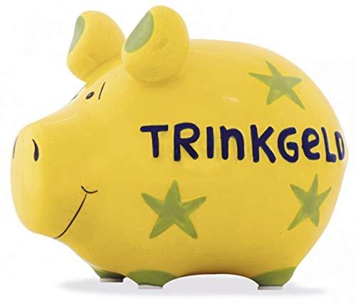 G.W. Tolles Keramik Sparschwein für die unterschiedlichsten Anlässe, Modell Trinkgeld, jedes in Seiner Art EIN Unikat, schöne Maße von 13 x 9 x9 cm, Farbe gelb