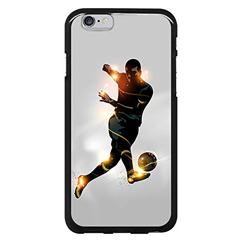 BJJ SHOP Funda Negra para [ iPhone 6 / iPhone 6s ], Carcasa de Silicona Flexible TPU, diseño: Futbolista chutando la Pelota, luz de energia