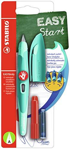 Ergonomischer Schulfüller für Rechtshänder mit Anfänger-Feder A - STABILO EASYbirdy Pastel Edition in aqua grün/mint - Einzelstift - inklusive Patrone und Einstellwerkzeug - Schreibfarbe blau