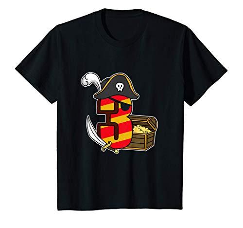 Niños 3 Años Chico Regalo Pirata Disfraz 3º Cumpleaños Camiseta