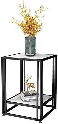 LYHY Nest of Tische Beistelltische Nordic Marble Side Square Corner 2tier Metall Schmiedeeisen Wohnzimmer Sofa Kaffee, Keine Montage erforderlich, Schwarz, 45 & mal; 45 & mal; 56cm