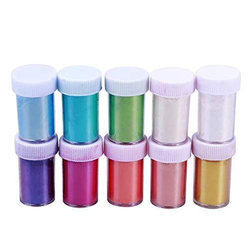 Healifty Polvere di mica, pigmento perlato per slime, polvere da tintura, saponi fai da te, coloranti per cosmetici e nail art, 10 pezzi