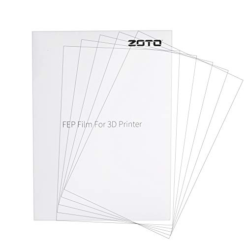 ZOTO 5 PCS FEP Release Film for SLA/DLP/LCD Technology (200 x 140 mm x 0,15 mm), Anti-corrosion, UV transmittance up to 95% for 3D Printer