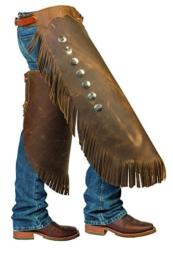 "Weaver Leather Pull-Up Leather Work Chinks, Brown, Medium (Total Length: 34"";Waist: 32""-38"";Upper Thigh: 25-1/2"")"