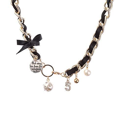 SWAOOS Cadena de Cuero Tejida, Collares con Colgantes de 5 Letras para Mujer, Gargantilla de Perlas de Cristal, Collar, joyería de declaración de Boda