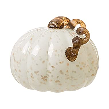Glitzhome 7  Handblown Golden/White Glass Pumpkin Table Accent For Fall & Harvest, Thanksgiving Decorating