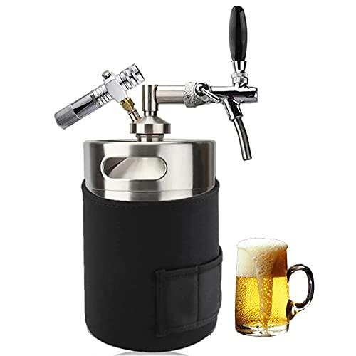 Mini Barril De Cerveza 5L Elaboración De Cerveza Casera Sistema De Grifo Growler, Mini Kegerator De Acero Inoxidable Dispensador De Cerveza Artesanal Utilice Un Cartucho De CO2 De 8 G (No Incluido)
