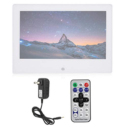Digital Photo Frame White 7in IPS Screen 1024x600 HD Electronic Album with Body Sensor 16:9 Support Memory Cards/USB Flash Drives/Laptops/Desktop Computers/Tablet(US Plug)