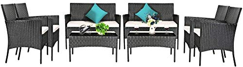 YRRA 4 PCS Patio Furniture Set Outdoor Wicker Conversation Set w/Tempered Glass Coffee Table Rattan Sofa & Chairs Set w/Comfortable Seat Cushions (1 Turquoise)-2_Beige