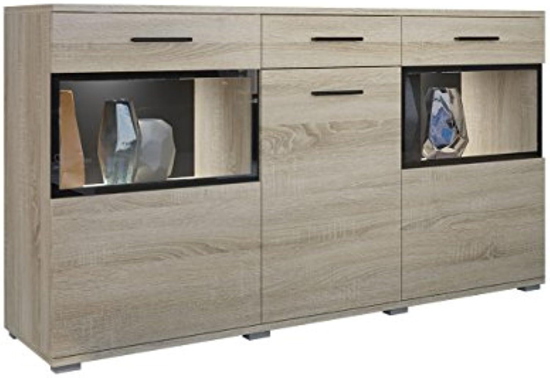 Mirjan24  Kommode Blaus mit Glastüren, Highboard Sideboard, Anrichte, Mehrzweckschrank, Naturtne, Schrank, Wohnzimmerschrank (Sonoma Eiche, ohne Beleuchtung)