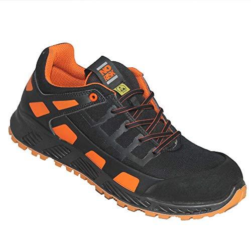 NoRisk Creed ESD S3 schwarz/orange Sicherheitsschuhe Arbeitsschuhe Sneaker metallfrei B-Ware, Größe:44 EU