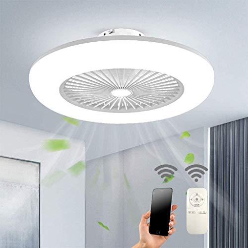 Deckenventilator Mit Beleuchtung LED-Licht Einstellbare Windgeschwindigkeit Dimmbar Mit Fernbedienung 32W Moderne Deckenleuchte Für Schlafzimmer Wohnzimmer Esszimmer Deckenlampe,Weiß