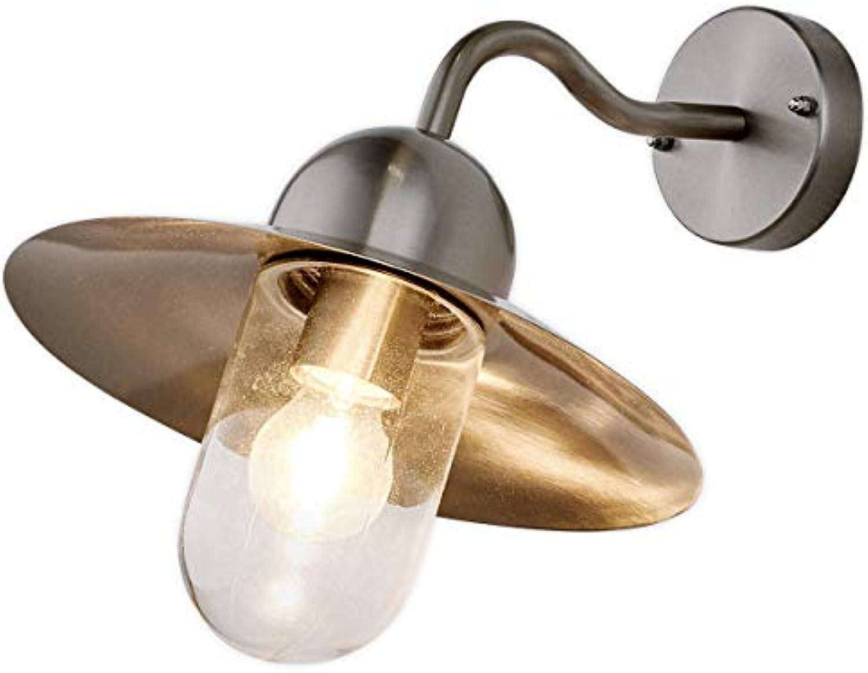 Lampenwelt Wandleuchte auen 'Femi' (spritzwassergeschützt) (Modern) in Alu aus Edelstahl (1 flammig, E27, A++) - Auenwandleuchten, Wandlampe, Auenlampe, Wandlampe für Outdoor & Garten