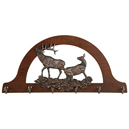 Cqing Perchero montado en la Pared de Madera rústica con Ganchos Vintage Elk Decor, Soporte para Colgar en la Pared con Arcos nórdicos para Sombreros, Bufandas, Abrigos, suéteres,A