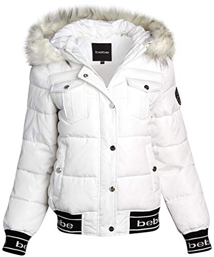 bebe Women's Short Nylon Puffer Bomber Jacket with Fur Trimmed Hood (White/Natural Fur, X-Large)