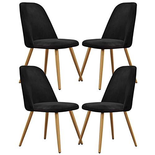 Set of 4 Velvet Fabric Modern Dining Chairs Padded Seat Cushioned Backrest Strong Golden Metal Legs Chair for Kitchen Living Room Lounge Bedroom (Color : Black)