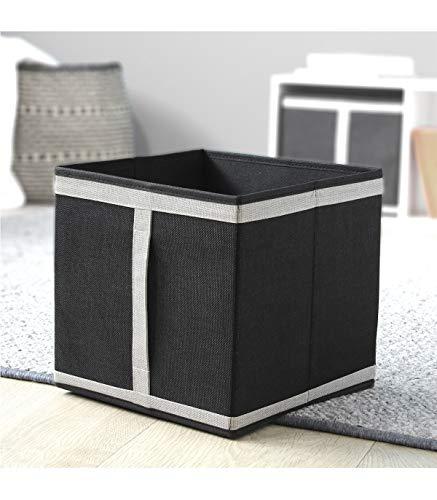 Casâme Cube Pliable en Carton recouvert de Tissu Polyester Aspect Lin