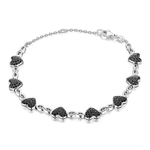 lonfenner Armbanduhr,Elegante Herz Natürliche Schwarze Spinell Liebe Armband 925 Sterling Silber Verstellbare Schnalle Kette Armband Edelsteine Armbänder Für Frauen Silber Schmuck
