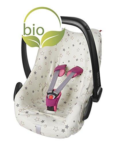 ByBoom - Sommerbezug, Schonbezug für Babyschale aus 100% BIO-Baumwolle mit Motiv, Universal für z.B. Maxi-Cosi, CabrioFix, Pebble, City SPS, Farbe:Natur - Sterne Grau