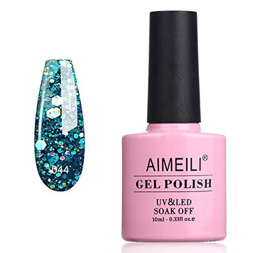 AIMEILI Smalto Semipermente per Unghie in Gel UV LED Smalti per Unghie Colori per Manicure con Brillantini - Diamond Glitter Teal Blue Green (044) 10ml