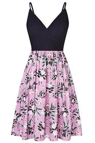 Spreadhoodie Vestidos Casual para Mujer Sexy Cuello En V Boho Estampado Floral Midi Vestido Casual Vintage Summer Beach Wrap Sash Vestido De Fiesta De Noche XL