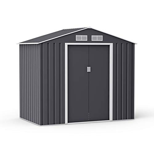 BillyOh Ranger Apex Metal Shed with Foundation Kit | Metal Garden Storage | 7x4 Garden Shed - Dark Grey